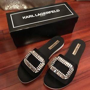 Karl Lagerfeld black slide sandal